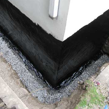 Basement Wall Waterproofing with Coal Tar Epoxy Coating